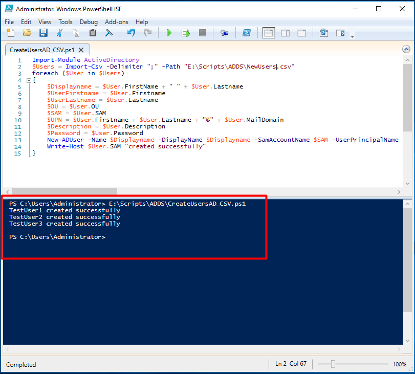Create users in AD using Powershell and CSV