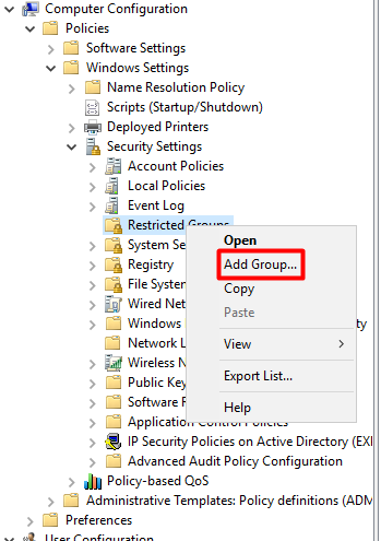 Add an Active Directory User Group to Local Admins via GPO