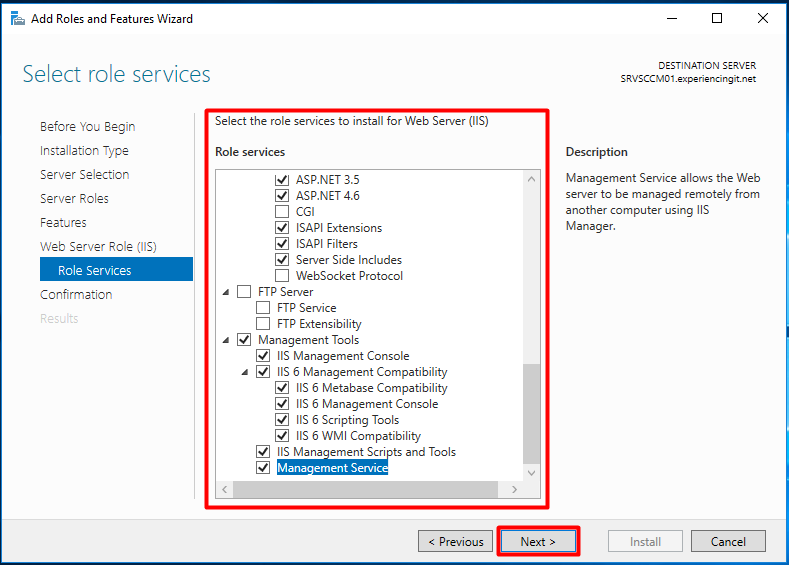 SCCM Install Windows Features