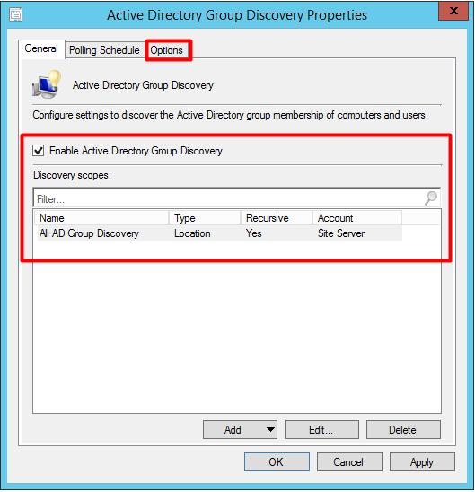 SCCM AD Group DIscovery
