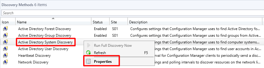 SCCM AD System DIscovery