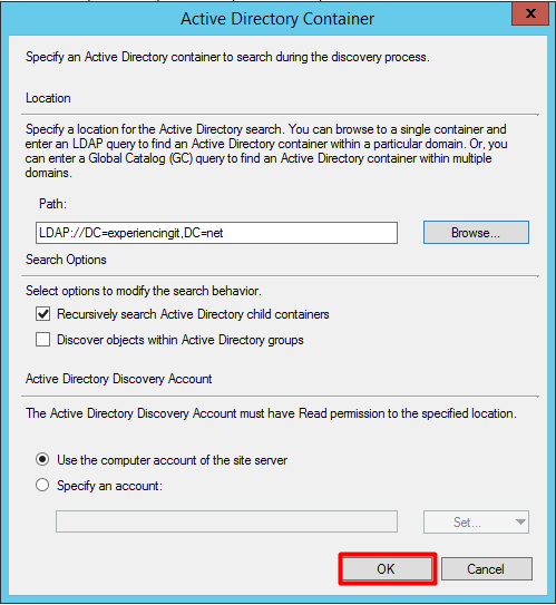 SCCM AD User DIscovery