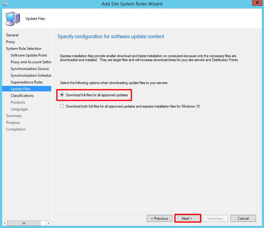 Add SCCM SUP (Software Update Point) Role