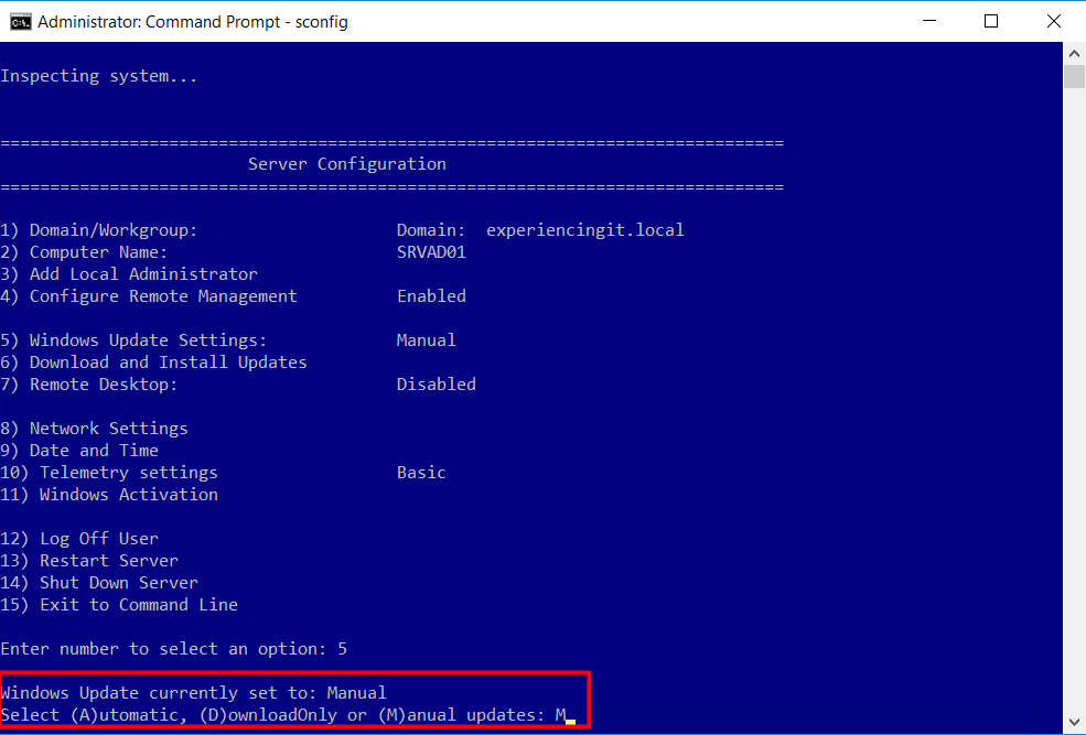 Change Windows Update Settings Windows Server 2016