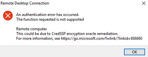 CredSSP May 2018 Remote Desktop error