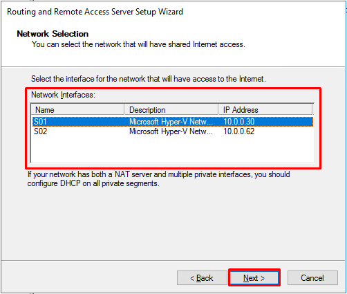 LAN Routing and NAT with Windows Server 2016 - RRAS Setup choose NAT interface 1