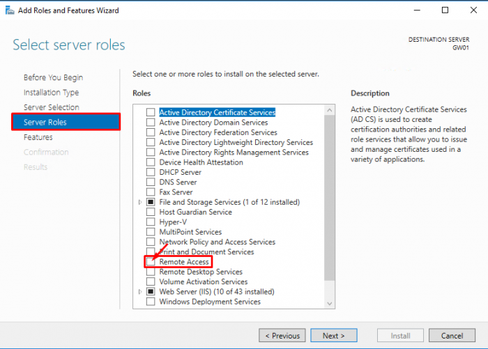 Lan Routing and NAT with Windows Server 2016 - Select server roles