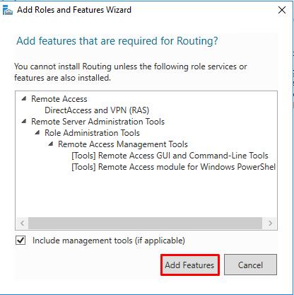 LAN Routing and NAT with Windows Server 2016 - Add role features