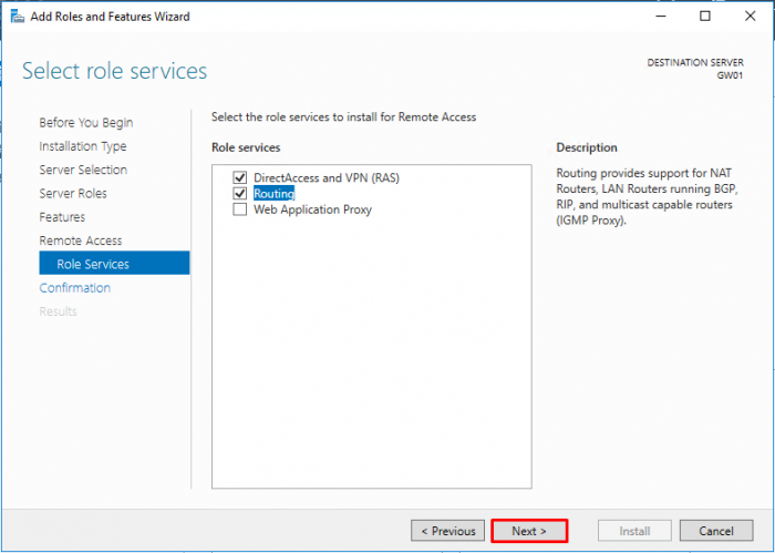 LAN Routing and NAT with Windows Server 2016 - Select role services