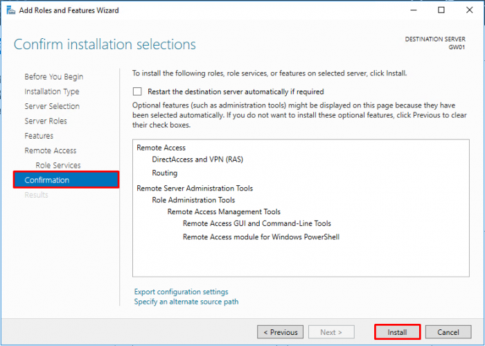 LAN Routing and NAT with Windows Server 2016 - Confirmation Remote Access