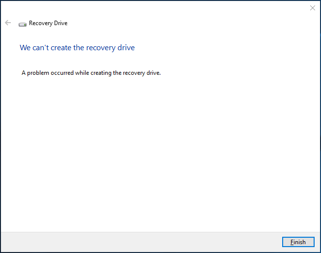 Create Windows 10 USB recovery Drive