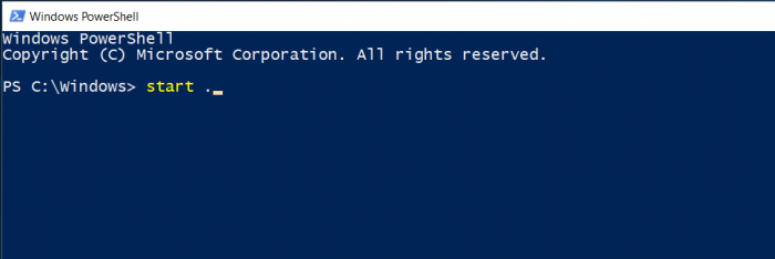 Open a Powershell or CMD prompt from anywhere in Windows File Explorer