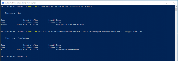 Change Windows 10 Updates Download Folder With Powershell