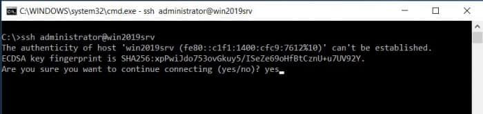 Add SHH Windows Server 2019