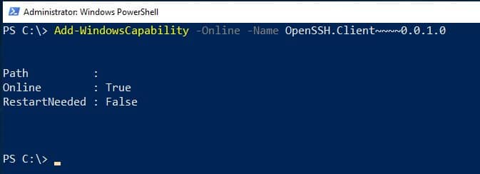 Add SHH Windows Server 2019