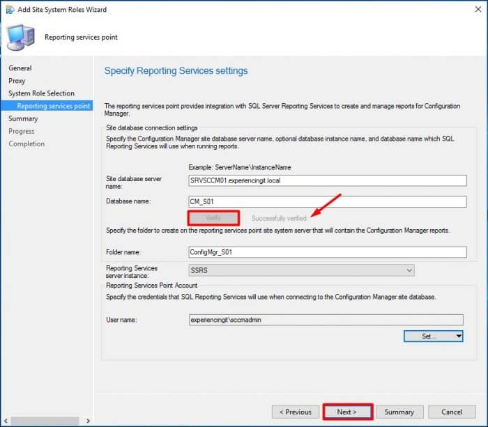 SCCM Current Branch Add Reporting Services Point