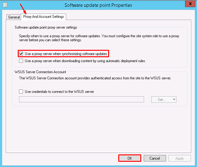 Prevent WSUS from losing proxy configuration